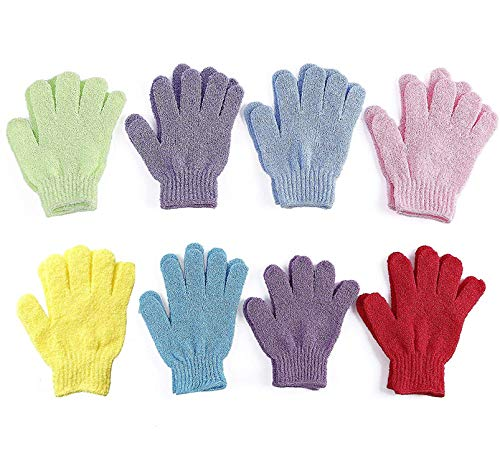 8 Pairs Double Sided Exfoliating Gloves Body Scrubber Scrubbing Glove Bath Mitts Scrubs for Shower, Body Spa Massage Dead Skin Cell Remover