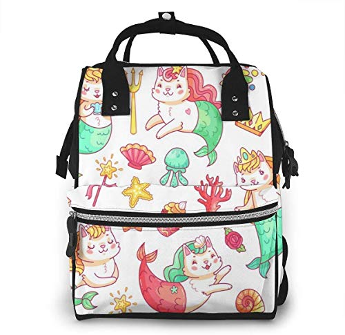 UUwant Sac à Dos à Couches pour Maman Large Capacity Diaper Backpack Travel Manager Baby Care Replacement Bag Nappy Bags Mummy BackpackMermaid Kitty Cat Cartoon Characters Underwater