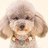 Phenove おしゃれ猫犬用首輪 和柄ネックス鈴付き 首輪 クスノキの木材チョーカーおしゃれ首飾り 可愛い 小型 中型ペットに ペットへのギフト 猫 犬用ペットグッズ(スカーレット)