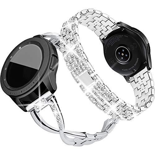Supoix Ersatz-Armband für Samsung Galaxy Watch, 42 mm, 2 Stück, 20 mm, aus Metall, für Samsung Galaxy Watch 42 mm/Active 40 mm, silber