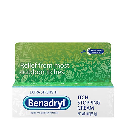 Benadryl Extra Strength Itch Stopping AntiItch Cream with Histamine Blocker Diphenhydramine HCl Topical Analgesic amp Zinc Acetate Skin Protectant for Relief from Most Outdoor Itches 1 oz