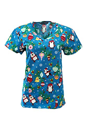Printed Holiday Halloween & Christmas Scrub Tops XS-3X Multiple Colors (Winter Skating Penguins, Small)