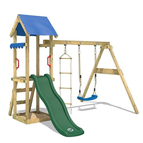 WICKEY Spielturm TinyCabin Kletterturm Spielplatz mit Schaukel und Rutsche, Sandkasten und Strickleiter, grüne Rutsche + blaue Plane