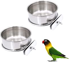 2 Pack Bird Cage Food Water Dispenser Parrot Food Dish Bird Feeder Cup for Cage, Stainless Steel Bird Food Holder Container for Parrot Macaws Ferret Parakeet Cockatiel Budgerigar