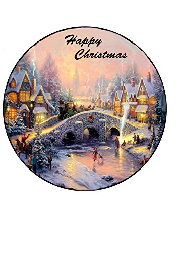 Weihnachten Vintage traditionellen Dorf Szene Merry Christmas 19,1cm Kreis auf Decor Zuckerguss Blatt essbar Cake Topper, perfekt für Dekorieren größere Kuchen