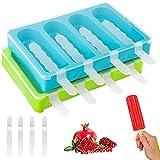 Moldes para paletas de hielo, 2 moldes de plástico para paletas de helado, moldes para paletas con tapa protectora y 12 palos de plástico, fabricantes de paletas de hielo para niños