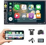 Apple Carplay 2 Din CAMECHO Radio 7 Pollici Android Autoradio Bluetooth per Auto con Collegamento a Specchio/FM Radio/USB+ Microfono Esterno+Telecamera Posteriore