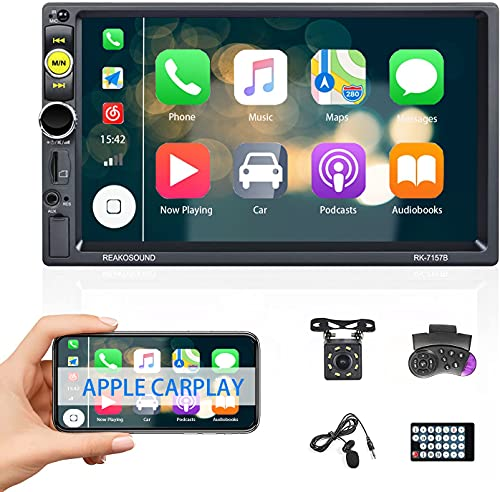 Estéreo Carro 2 DIN Pantalla táctil D-Play CAMECHO 7' Reproductor Multimedia para Coche 1080P con Mirror Link Bluetooth FM TF/USB Radio de Coche+micrófono Externo+Marco+cámara de visión Trasera