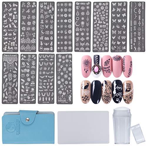 NICENEEDED Nail Art Stamping Kit With 12PCS Nail Stamp Templates, 1 Nail Stamper, 1 Nail Scraper Included Nail Stamp Tool Set for Nail Decoration