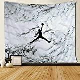 SARA NELL Wall Hanging Tapestry Cool Man Basketball On Black and White Marble Tapestries Wall Tapestry Home Decorations for Living Room Bedroom Dorm Decor in 60x90 Inches