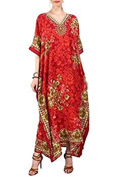 Miss Lavish London Ladies Kaftans Kimono Maxi Style Dresses Suiting Teens to Adult Women in Regular to Plus Size  601-Red US 6-12