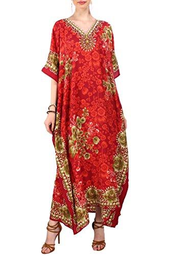 Kaftan Tunic Kimono Dress Ladies Summer Women Evening Maxi Party Plus Size 6-12,Red