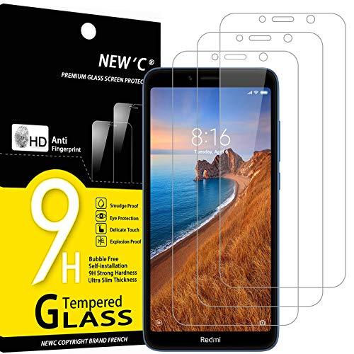 NEW'C 3 Unidades, Protector de Pantalla para Xiaomi Redmi 7A, Antiarañazos, Antihuellas, Sin Burbujas, Dureza 9H, 0.33 mm Ultra Transparente, Vidrio Templado Ultra Resistente