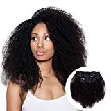 Vanalia 4A 4B Kinky Coily Clip in Remy Human Hair Extensions for African American Black Women, Natural Black, 120 Gram, 14 Inch