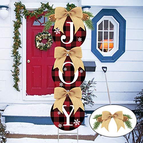 Christmas Decorations-Double Side Print Joy Yard Signs Set -Happiness Rustic Burlap Buffalo Plaid Wreath Christmas Decorations Outdoor Home Lawn Pathway Walkway (Artificial Pine Cones)