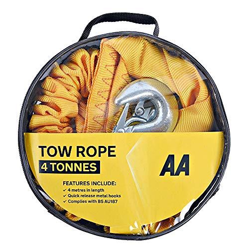 AA 5060114616226 Hochleistungs-Abschleppseil in Riemenform, Abschleppgurt für Fahrzeuge, gelb, bis 4 Tonnen