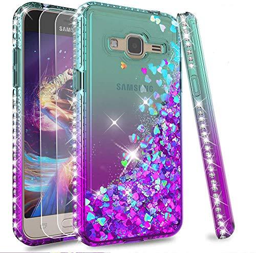 LeYi Custodia Galaxy J3 2016 Glitter Cover con Vetro Temperato [2 Pack],Brillantini Diamond Sabbie Mobili Bumper Case per Custodie Samsung J3 2016/J3/SM-J320 Donna ZX Turquoise Purple Gradient