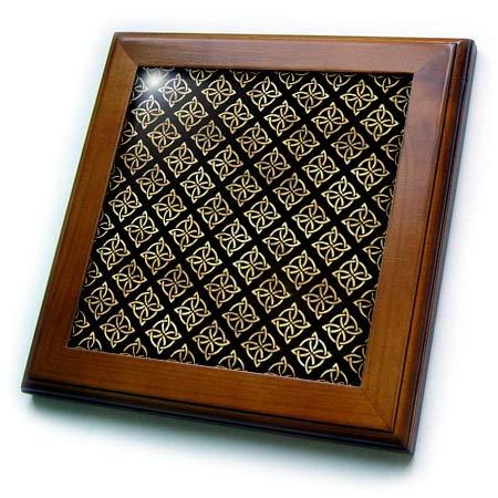 3dRose Black and Image of Gold Celtic Diamond Knots Pattern - Framed Tiles (ft_335915_1)