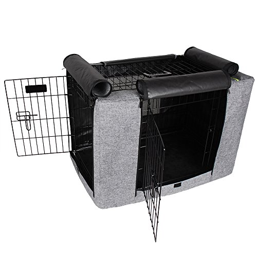 Petsfit 30' Lx19 Wx21 H Crate Cover, for 3000 Wire Crates,Two Doors (Grey)