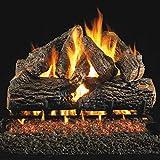 Peterson Real Fyre 24-inch Charred Oak Log Set With Vented Natural Gas G45 Burner - Match Light