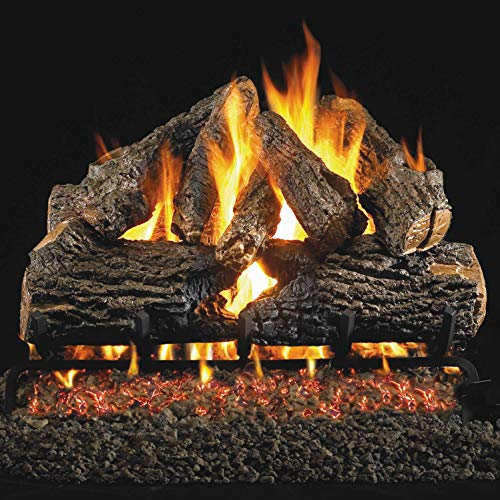 Peterson Real Fyre 24-inch Charred Oak Log Set With Vented Natural Gas Ansi Certified G46 Burner - Variable Flame Remote