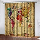 LWXBJX Opacas Cortinas Dormitorio - Mapa de Color Vintage -...