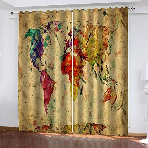 JNWVU Blackout Curtains Thermal Insulated Window Curtains 150X166Cm (WxH) Vintage World Map Printed Eyelet Super Soft Darkening Curtains For Living Room Nursery Kids Girls Bedroom