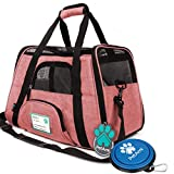 PetAmi Premium Airline Approved Soft-Sided Pet Travel Carrier | Ventilated, Comfortable Design with Safety Features | Ideal for Small to Medium Sized Cats, Dogs, and Pets (Small, Heather White Red)
