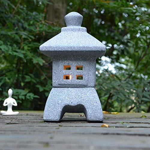 LIUSHI Escultura de Linterna de Vela de Pagoda, candelabro Antiguo japonés Estatua Figura de lámpara Zen para jardín balcón césped C 15x15x26cm (5.9x5.9x10.2 Pulgadas)