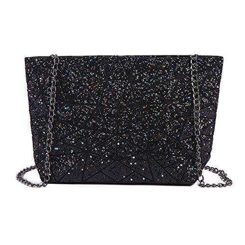 Van Caro Damen-Handtasche, geometrisches Gitter, PU-Leder mit Kette und Schulterriemen, Schwarz (schwarz), Einheitsgröße