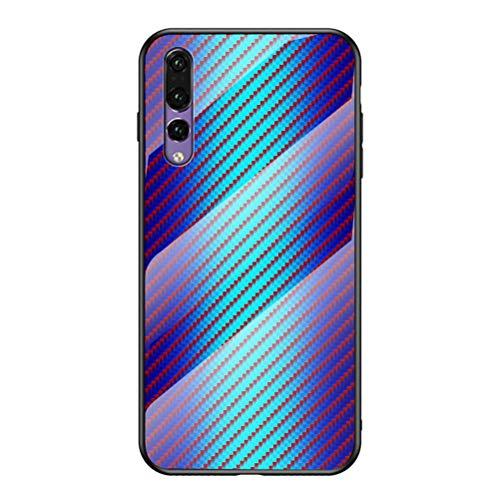 Capa para Huawei P20 Pro, YINCANG [cor Hyun] estampa de fibra de carbono + vidro temperado transparente + capa traseira protetora TPU macia para Huawei P20 Pro 6,1 polegadas azul