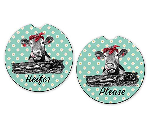 Daisy Cow Heifer Please Car Cup Holder Coasters 2 pcs Set Funny Farm Animal Automobile Accessory