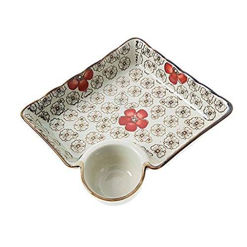 MJHSP Vinegar Dish Ceramic Dumpling Dish Home Japanese Tableware Breakfast Small Dish Fruit Plate (Color : Red)