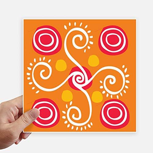 DIYthinker oranje planten Mexico Totems oude beschaving plein Stickers 20 Cm muur koffer Laptop Motobike Decal 4 Stks
