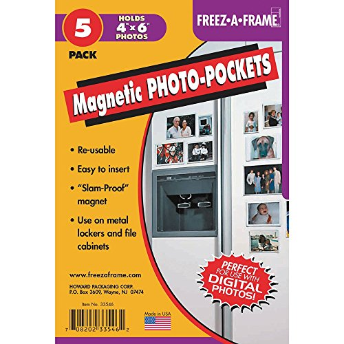 Clear Magnetic Photo Frames For Refrigerator 4' x 6' (Pack of 5), Freez-A-Frame