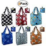 Grocery Bags Reusable Foldable 6 Pack Shopping Bags Large 50LBS Cute Groceries Bags with Pouch Bulk Ripstop...
