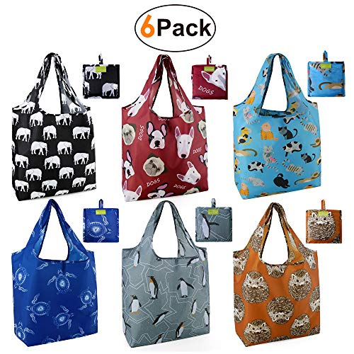 Grocery Bags Reusable Foldable 6 Pack Shopping Bags Large 50LBS Cute Groceries Bags with Pouch Bulk Ripstop Waterproof Machine Washable EcoFriendly Nylon Elephant Hedgehog Cat Turtle Dog Penguin