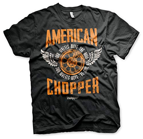 Hybris American Chopper Wheels Motorcycles Oficial Camiseta para Hombre (Small)