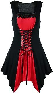 Leomodo Women Plus Size Retro Lace Up Evening Party Dress Ladies Steampunk Gothic Dress