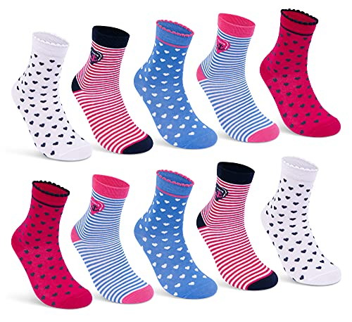 10 Paar Kinder Socken Jungen & Mädchen Baumwolle Kindersocken - 54330 (10 Paar | Mädchen 1, 35-38)