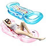FindUWill Inflatable Pool Lounge, 2 Pack Inflatable Pool Floats with Headrest, Backrest & Footrest, Pool Raft Swimming Pool Lounger with Cup Holder (DeepSkyBlue&LightPink)