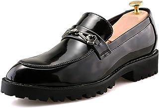 [Shuo lan JP] 男士 革靴 ビジネス オックスフォード カジュアル ロートップ 尖った 厚い底 イギリススタイル シューズ 通気
