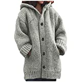 iYBWZH Women's Hooded Knit Cardigans Button Cable Sweater Coats Loose Winter Long Sleeve Sweater with Pocket Gray