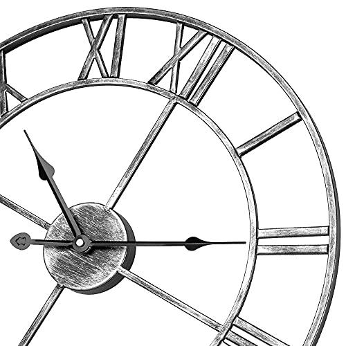 Reloj de pared silencioso con números romanos, 40 cm, funciona con pilas, esqueleto de metal, color plateado