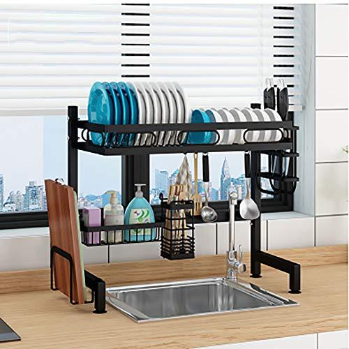 Over The Sink Dish Drying Rack,2 Nivel Acero Al Carbono Grande Estante Del Drenador Del Plato Con El Soporte De La Tabla De Cortar,Rejilla Escurreplatos Estante De Almacenamiento-Negro. Single sink 65