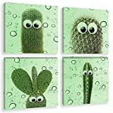 Skyme Art Abstract Cactus Funny Canvas Wall Art Lovely Cacti Green Plants Picture Artwork for Kids Room Living...