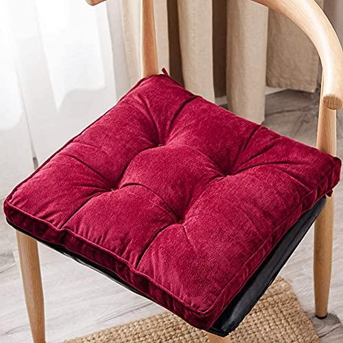 AMYZ Confezione da 2,Cuscino per Sedia in Velluto a Coste Cuscino per Sedile da Ufficio Cuscino per Sedia Quadrato Reversibile e Lavabile,17 x 17 Pollici (Rosso Vino)
