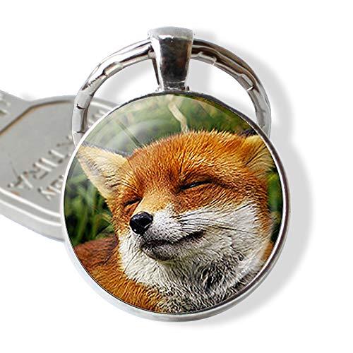 YASIKU sleutelhangers mooie vos glas cabochon sleutelhanger mode vos legering sleutelhanger voor dochter liefhebber geschenken