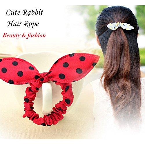 Oreilles de lapin à pois élastiques cheveux en caoutchouc élastique Bandeau Accessoires pour cheveux