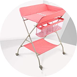 Portable Changing Mats Diaper Table Foldable Baby Care Table Multifunctional Newborn Bath Massage Touch Table (Color : Pink, Size : 74 * 60 * 115cm)